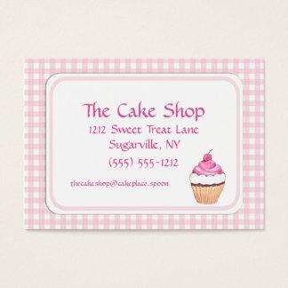 Pink Check Cake Shop Baker Bakery Business Cards