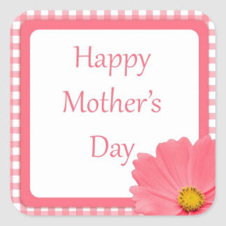 Pink Check Floral Mothers Day Square Sticker