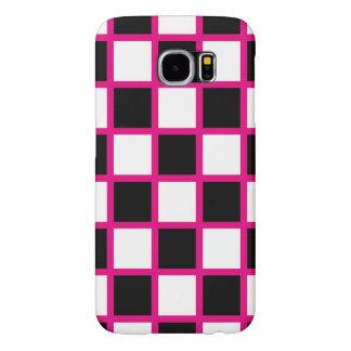 Pink Checker Pattern Samsung Galaxy S6 Cases