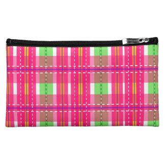 Pink Checker Plaid Medium Cosmetic Bag