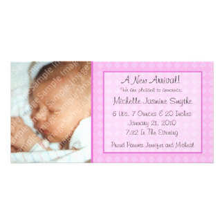 Pink Checkerboard New Baby Photo Card