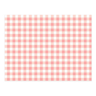 Pink Checkerboard Pattern and Print Cute design Postcard