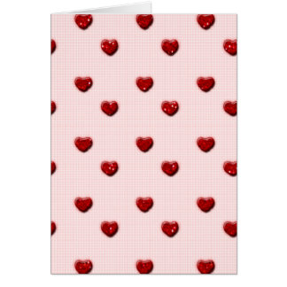 Pink Checkerboard Red Glitter Hearts Card