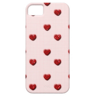 Pink Checkerboard Red Glitter Hearts iPhone SE/5/5s Case