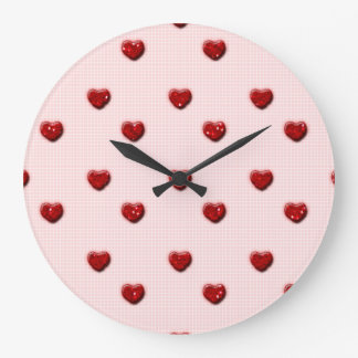Pink Checkerboard Red Glitter Hearts Large Clock