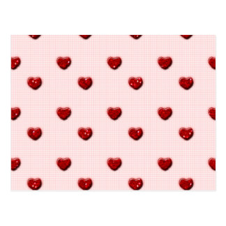 Pink Checkerboard Red Glitter Hearts Postcard