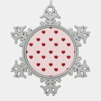 Pink Checkerboard Red Glitter Hearts Snowflake Pewter Christmas Ornament