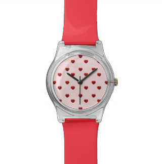 Pink Checkerboard Red Glitter Hearts Watches