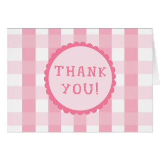 Pink Checkerboard Thank You Cards
