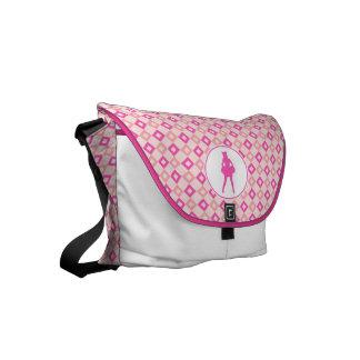 Pink Checkered Diamonds Cheer or Pom Small Messenger Bag