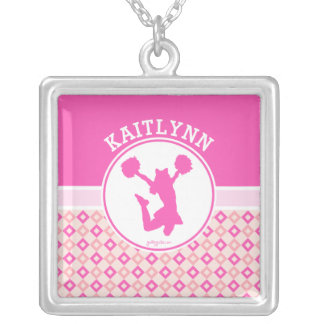 Pink Checkered Diamonds Cheer or Pom w/ Monogram Silver Plated Necklace
