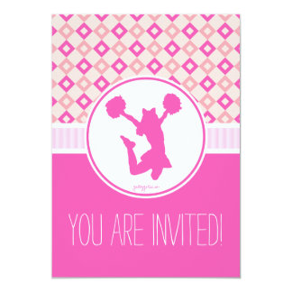 Pink Checkered Diamonds Cheer/Pom Party Invitation