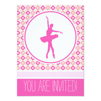 Pink Checkered Diamonds Dancer Party Invitation