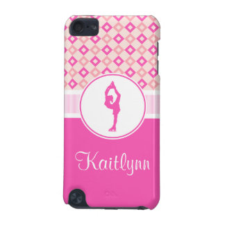 Pink Checkered Diamonds Figure Skater w/ Monogram iPod Touch (5th Generation) Covers