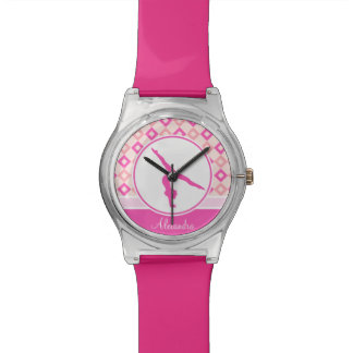 Pink Checkered Diamonds Gymnastics w/ Monogram Wristwatch