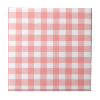 Pink Checkered Tablecloth Pattern Tile