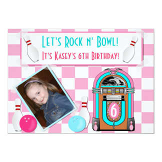 Pink Checkers Rock And Bowl Bowling Birthday Party Card
