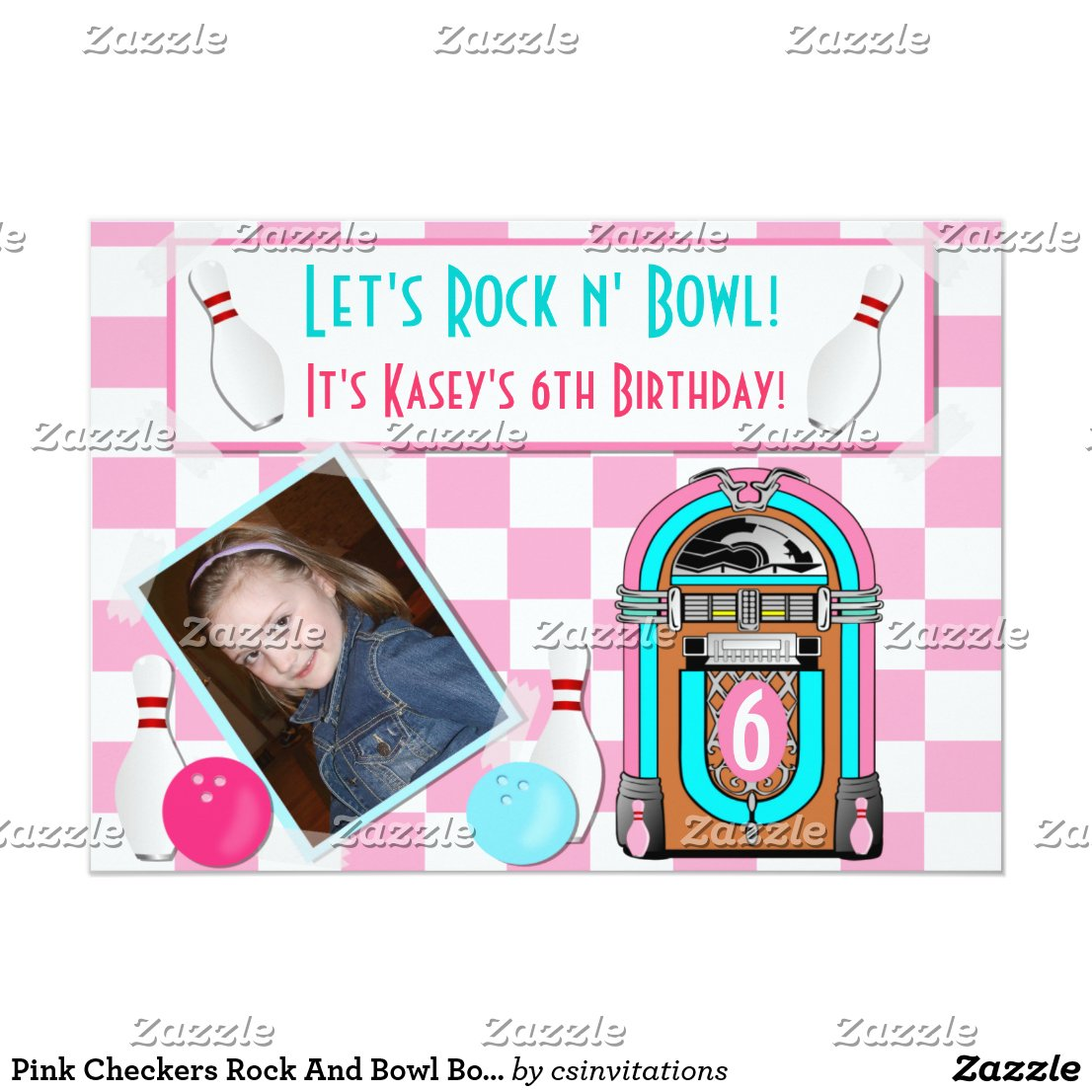 Pink Checkers Rock And Bowl Bowling Birthday Party