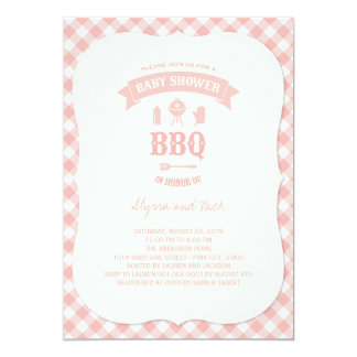 Pink Checks BBQ Girl Baby Shower Summer Party Card