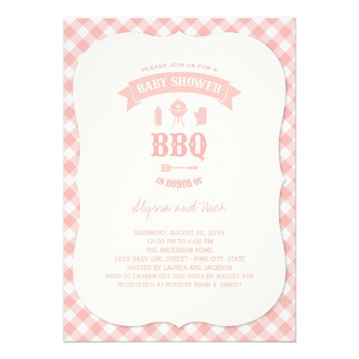Pink Checks BBQ Girl Baby Shower Summer Party Custom Invitations