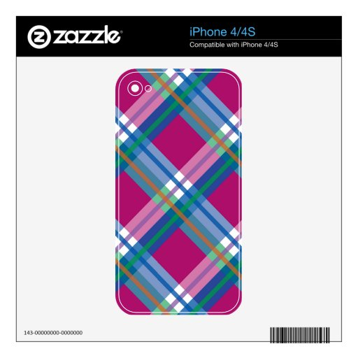 Pink Checks Splatter on Leather Texture Decals For iPhone 4S