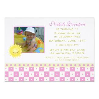 Pink Checks & Sunshine: Party Invitations