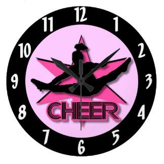 Pink Cheer Large Clock