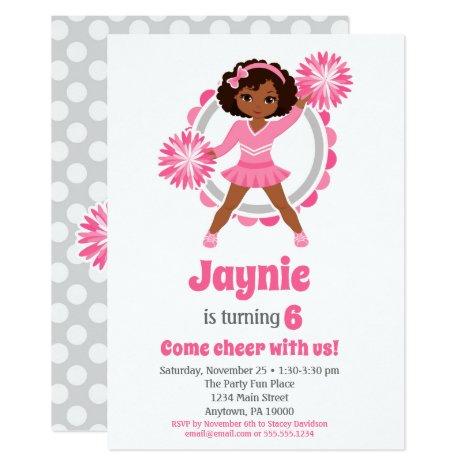 Pink Cheerleader - African American Birthday Invitation