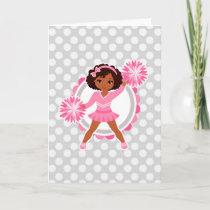 Pink Cheerleader African American  - Cute Cheer Card