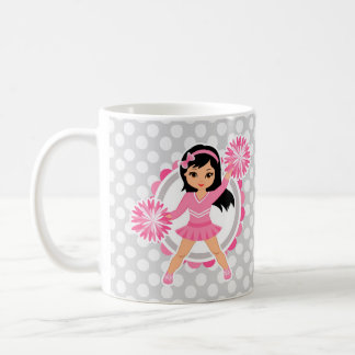 Pink Cheerleader Black Hair - Cute Cheer Coffee Mug