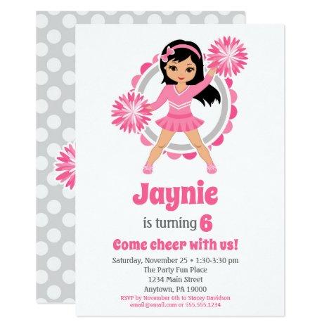 Pink Cheerleader Black Hair Girls Cheer Birthday Invitation