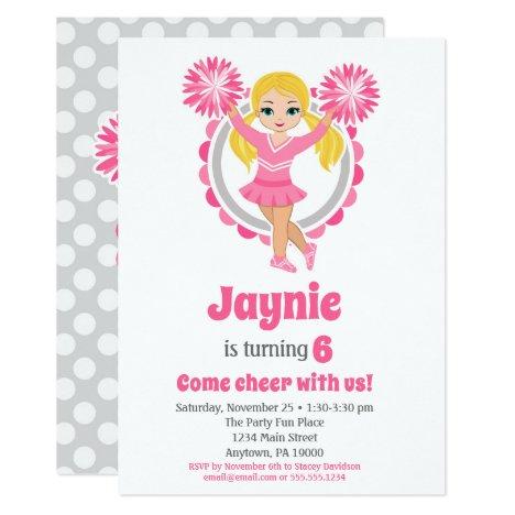 Pink Cheerleader - Blonde Girls Cheer Birthday Invitation
