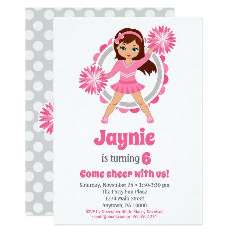 Pink Cheerleader - Brunette Girls Cheer Birthday Invitation
