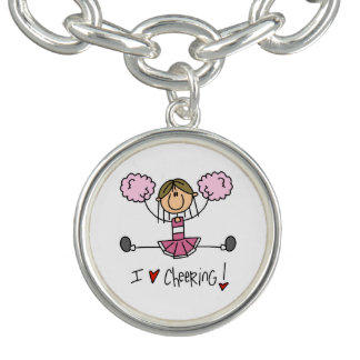Pink Cheerleader Charm Bracelet