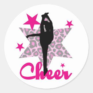 Pink cheerleader classic round sticker