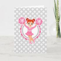 Pink Cheerleader Redhead - Cute Cheer Card