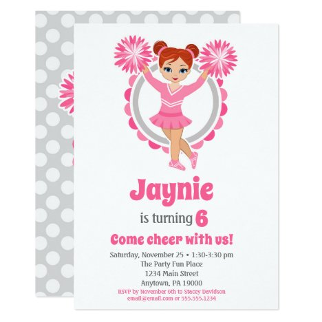Pink Cheerleader - Redhead Girls Cheer Birthday Invitation