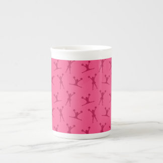 Pink cheerleading pattern porcelain mugs
