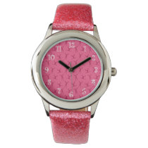 Pink cheerleading pattern wrist watch
