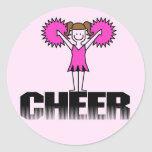 Pink Cheerleading T-shirts and Gifts Stickers