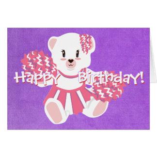 Pink Cheerleading Teddy Bear Card