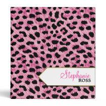 Pink Cheetah2 Personalized 3 Ring Binder