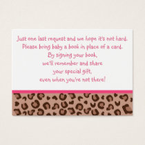 Pink Cheetah Baby Shower Book Request Cards