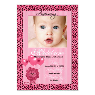Pink Cheetah Birth Announcement Photo Card