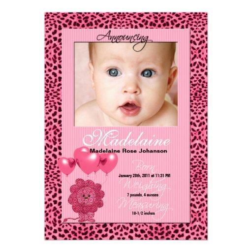 Pink Cheetah Birth Announcement Photo Card