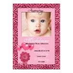 """Pink Cheetah Birth Announcement Photo Card 5"""" X 7"""" Invitation Card"""