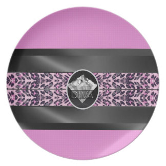 Pink Cheetah Diamond Diva Melamine Plate