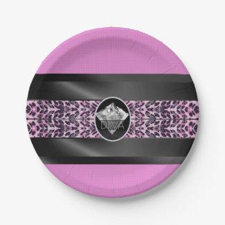 Pink Cheetah Diamond Diva Paper Plate