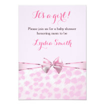 Pink Cheetah Leopard Bow Baby Shower Girl Invite