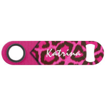 Pink Cheetah Monogram Speed Bottle Opener